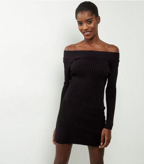 Mela Black Bardot Neck Knitted Long Sleeve Dress | New Look