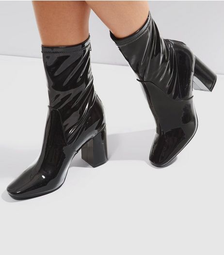 Black Patent High Ankle Boots | New Look