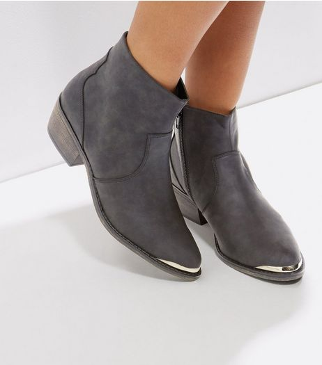 Black Metal Trim Western Boots | New Look