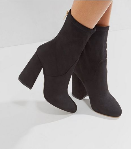 Black Suedette Flared Heel Boots | New Look