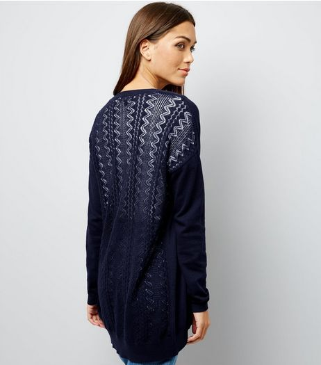 Navy Lace Back Longline Cardigan | New Look