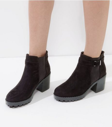 Black Suedette Elasticated Buckle Side Chelsea Boots | New Look