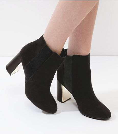 Black Suedette Flared Metal Heel Trim Chelsea Boots | New Look