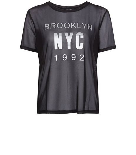 Teens Black Mesh NYC Metallic Print T-shirt | New Look