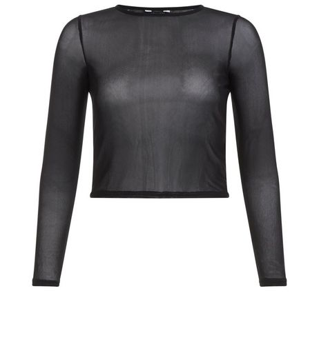 Teens Black Mesh Long Sleeve Crop Top | New Look