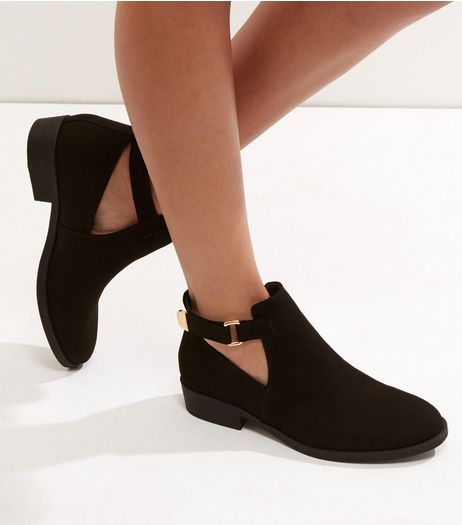 Black Suedette Cut Out Ankle Boots | New Look