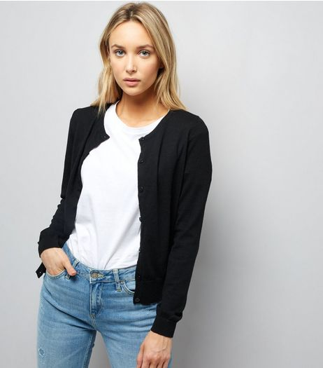 Black Long Sleeve Crew Neck Cardigan  | New Look