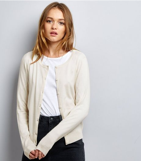 Cream Crew Neck Cardigan  | New Look
