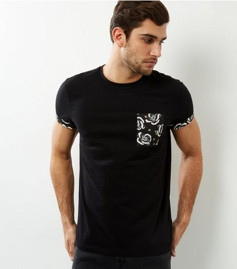 Black Floral Pocket T-shirt | New Look