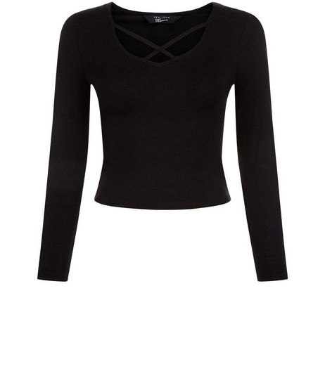 Teens Black Cross Strap Front Long Sleeve Top | New Look
