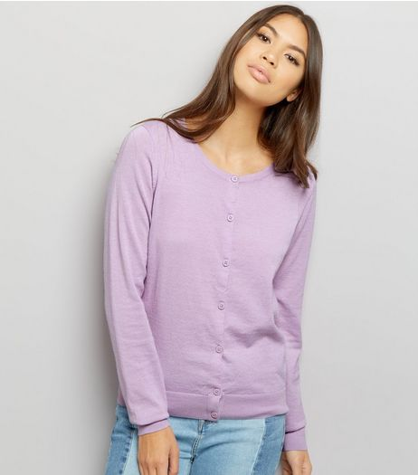 Lilac Crew Neck Cardigan | New Look