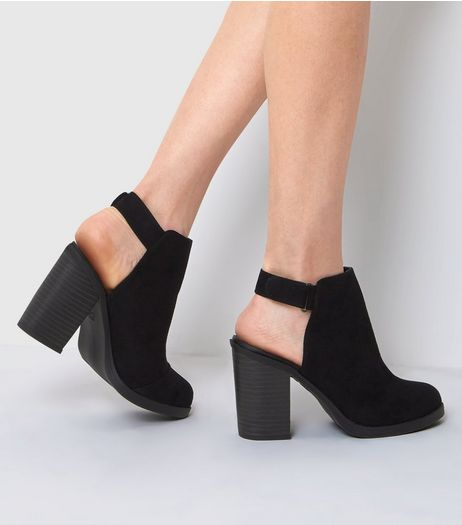 Black Suedette Open Back Boots | New Look