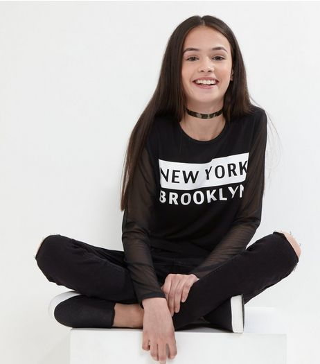 Teens Black New York Mesh Sleeve Top | New Look