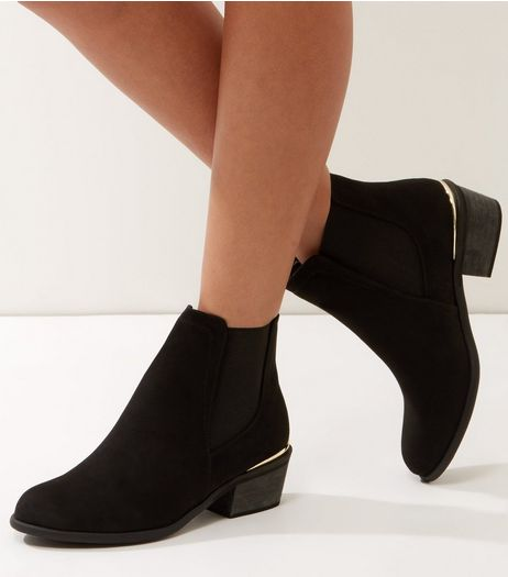 Black Suedette Metal Trim Ankle Boots | New Look