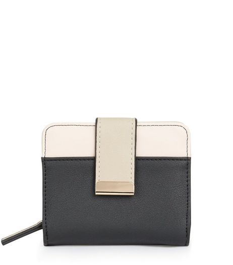 Black Contrast Panel Clip Front Purse | New Look