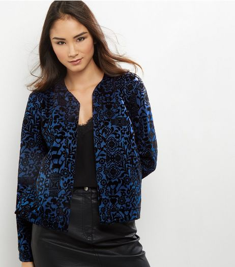 Apricot Navy Textured Floral Print Jacket  | New Look