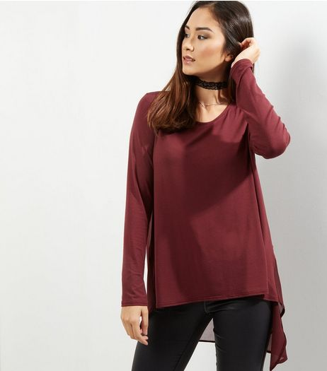 Apricot Burgundy Split Back Top  | New Look