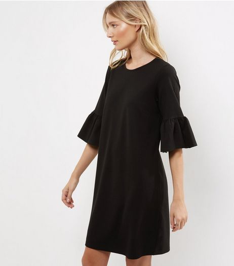 Black Bell Sleeve Tunic Dress | New Look