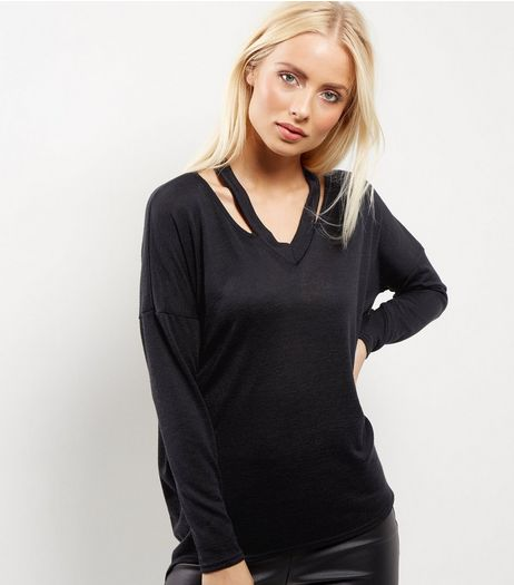 Black Fine Knit Cut Out Top  | New Look