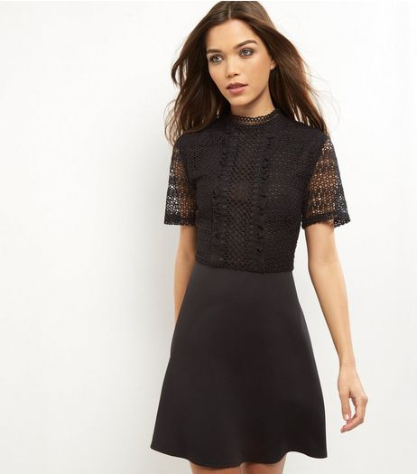 Black Lace Panel Short Sleeve Skater Dress | New Look