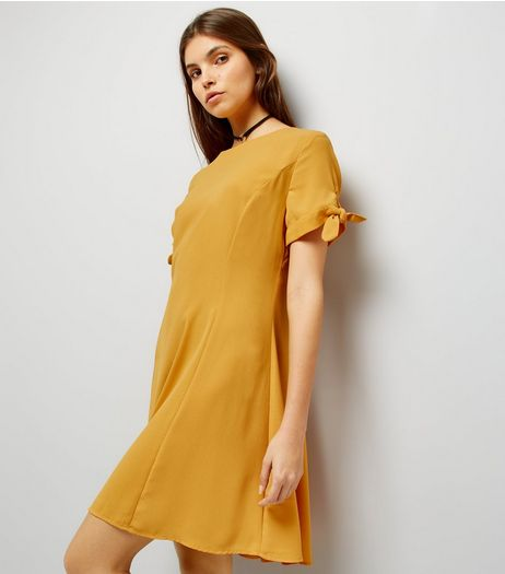 Yellow Tie Sleeve Dress | New Look