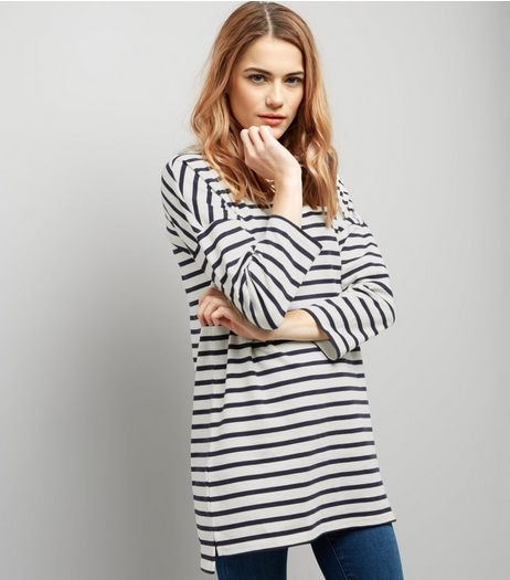 White Stripe 3/4 Sleeve Tunic | New Look