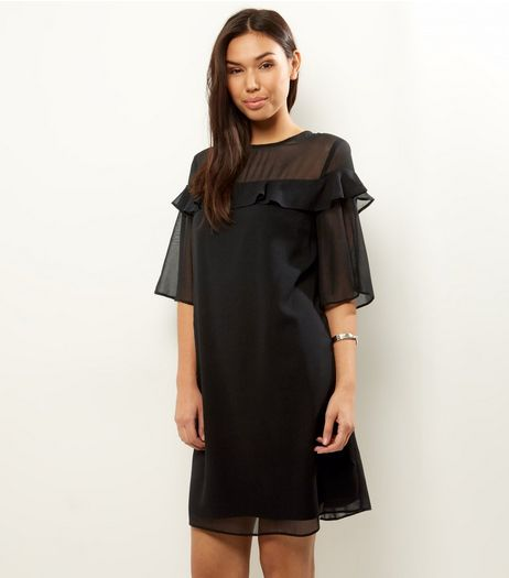 Black Chiffon Frill Trim Short Sleeve Tunic Dress | New Look