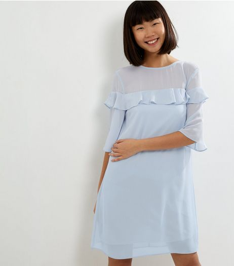 Pale Blue Chiffon Frill Trim Tunic Dress | New Look