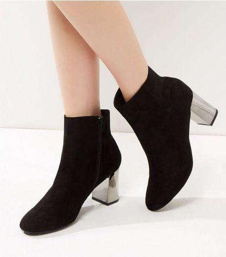 Black Suedette Metal Block Heel Boots | New Look