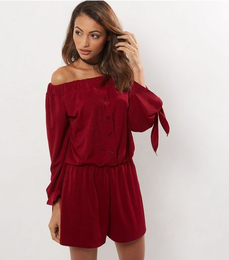 Cameo Rose Burgundy Play Suit | New Look