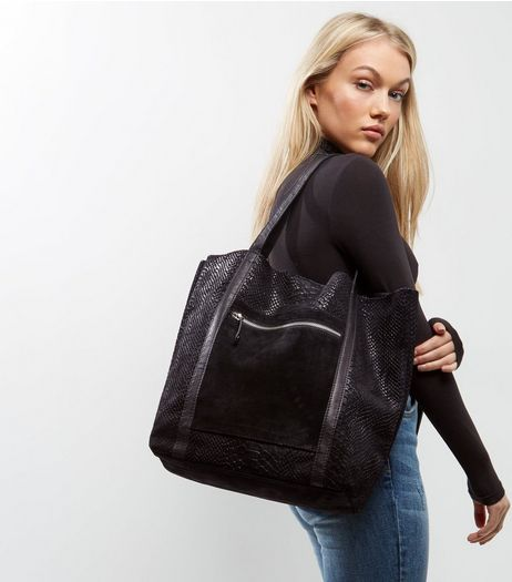 Black Suede Snakeskin Shopper | New Look