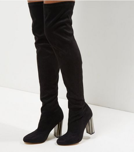Wide Fit Black Suedette Over The Knee Marble Heeled Boots | New Look