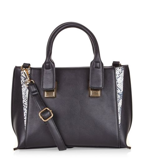 Black Mini Snakeskin Print Panel Tote Bag | New Look