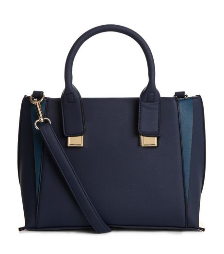 Blue Contrast Panel Mini Tote Bag | New Look