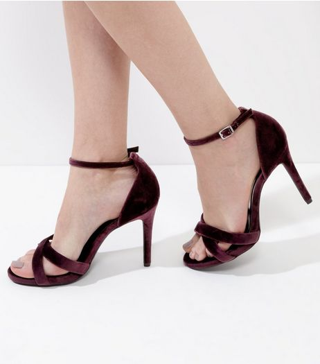 Wide Fit Dark Purple Velvet Cross Strap Heels | New Look
