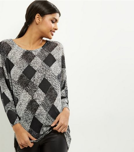 Black Check Print Batwing Sleeve Top | New Look