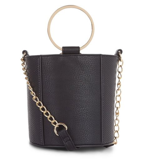 Black Leather Look Metal Handle Mini Bucket Bag | New Look