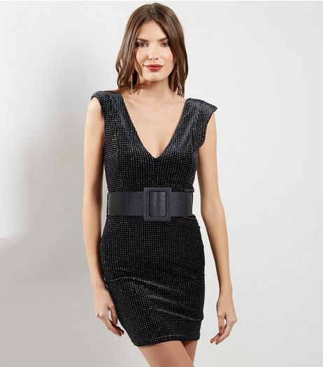 Black V Neck Glitter Velvet Bodycon Dress | New Look