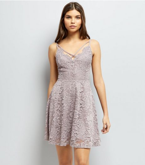 Mink Lace Cross Strap Skater Dress | New Look