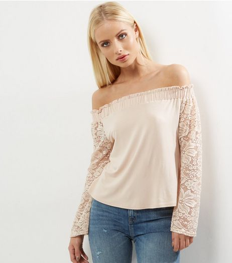 Cream Bardot Neck Lace Sleeve Top  | New Look