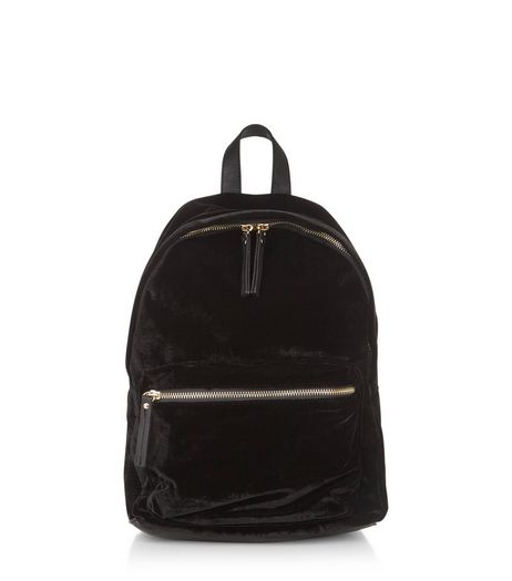 Black Velvet Backpack | New Look