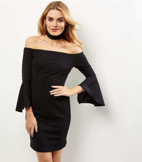 Black Bardot Neck Bell Sleeve Bodycon Dress | New Look