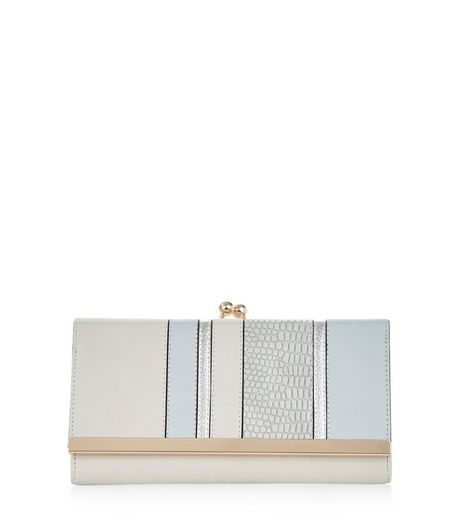 Pale Blue Metallic Panel Purse | New Look