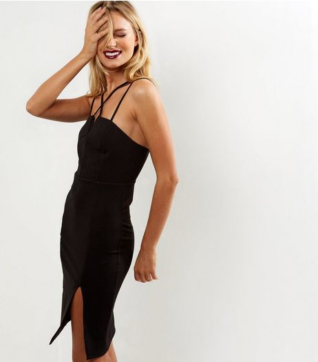 Black Strappy Split Side Bodycon Dress | New Look