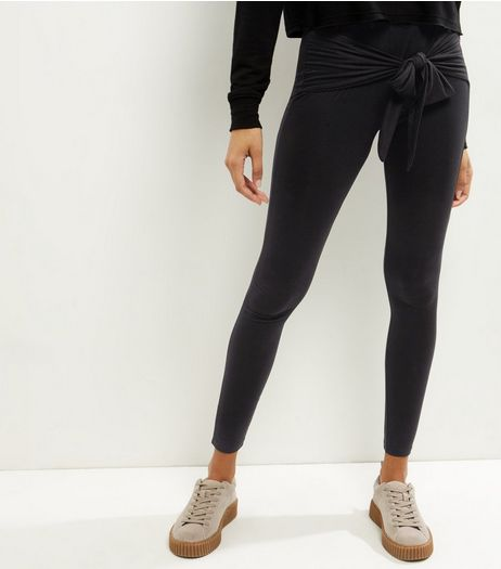 Black Tie Waist Leggings  | New Look