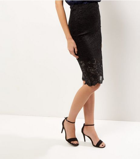 Black Lace Pencil Skirt  | New Look