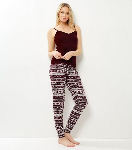 Burgundy Fairisle Pyjama Set | New Look