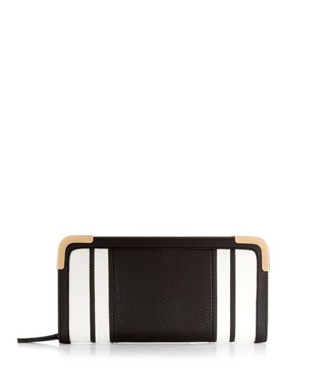 Black Contrast Stripe Zip Around Purse | New Look