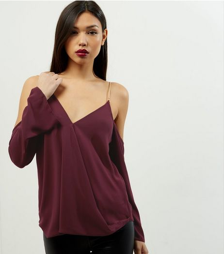 Burgundy V Neck Cold Shoulder Chain Strap Top  | New Look