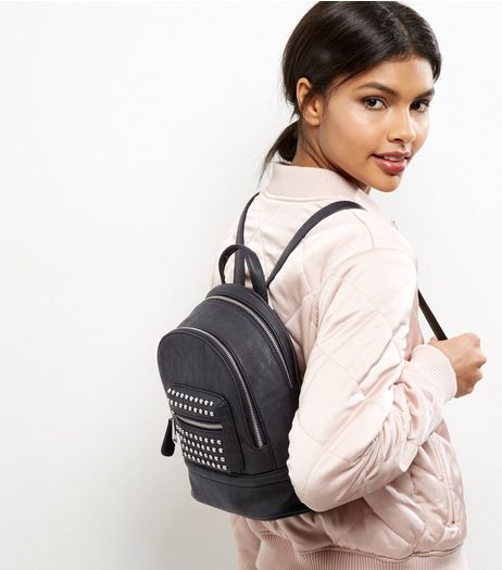 Black Leather Look Studded Mini Backpack | New Look